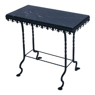 1930s French Iron & Marble Accent Table