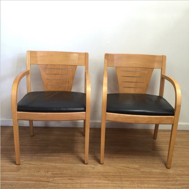Bentwood and Leather Vecta Arm Chairs - Pair - Image 2 of 9