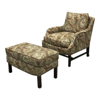 Hickory Chair Paisley Print Armchair and Ottoman