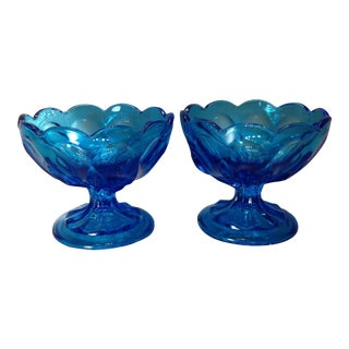 Vintage Blue Glass Pedestal Bowls - A Pair