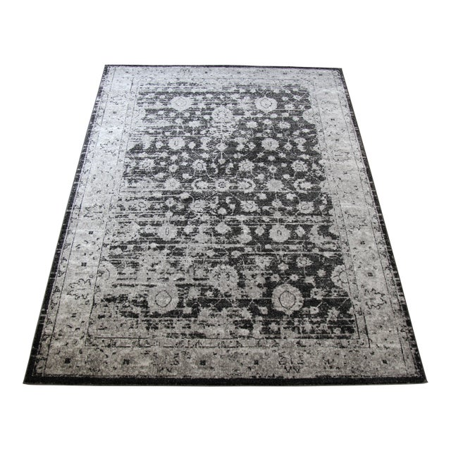 "Distressed Vintage Gray Rug - 4' x 5'8"" - Image 1 of 7"
