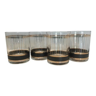 Vintage 1970s Culver Black and 22k Gold Whiskey Rocks Glasses - Set of 4