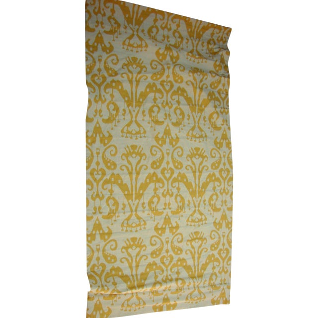 Set of 4 Custom Yellow Gold Cream Ikat Shades - Image 1 of 10