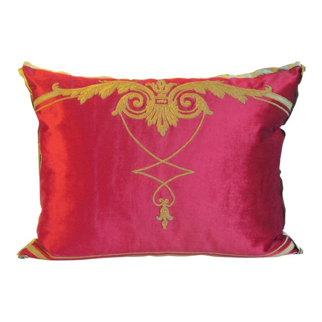 Image of Gold Embroidered Pink Velvet Pillow, 19th Century