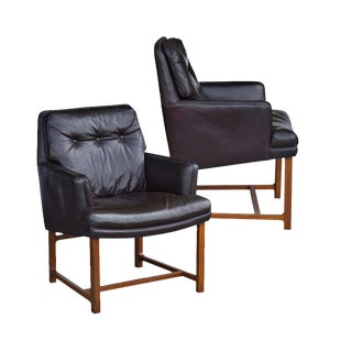 Brown Leather Dunbar Lounge Chairs - A Pair