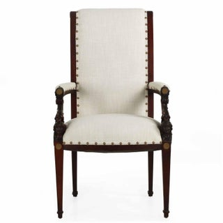 Neoclassical Revival Carved Mahogany Arm Chair Circa 1870