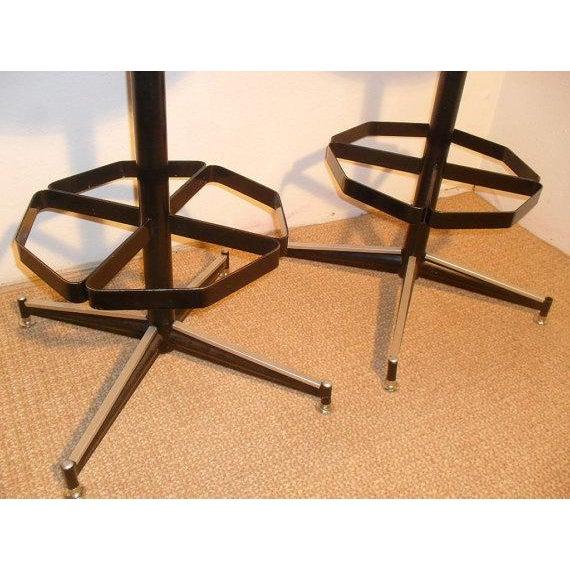 Vintage Mid-Century Modern Upholstered Iron Bar Stools - Image 4 of 5