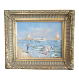 """Girls at the Ocean With Sailboats"" Oil Painting"