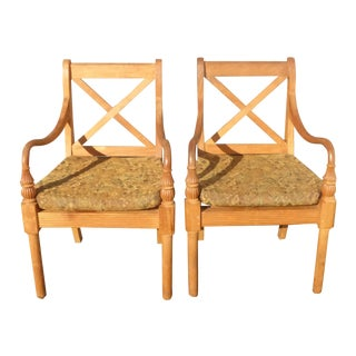 Vintage Designer Teak Patio Arm Chairs - A Pair