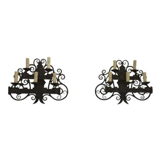 Iron Wall Sconces - a Pair
