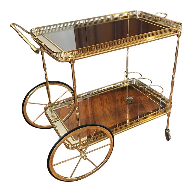 Vintage Brass & Glass Bar Cart - Image 1 of 8