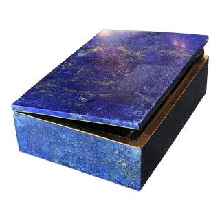 50's Lapis Lazuli Gilt Bronze Jewelry Box