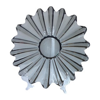 Mid-Century Gray Glass Starburst Dish
