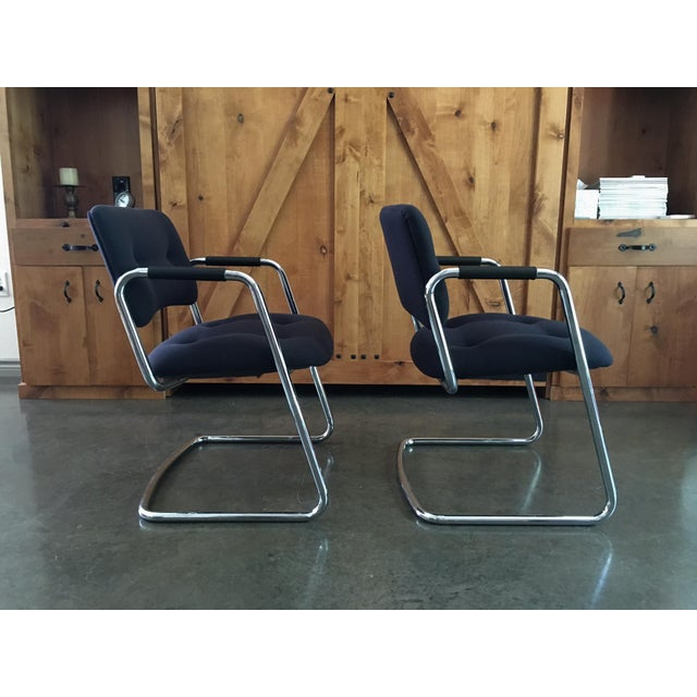 Image of Mid-Century Cantilever Chrome Armchairs - A Pair