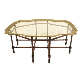Mid-Century Brass Trimmed Glass Top Coffee Table