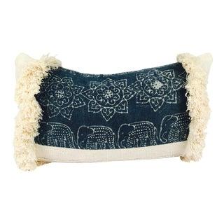Mixed Mud Cloth & Hmong Fringe Lumbar Pillow