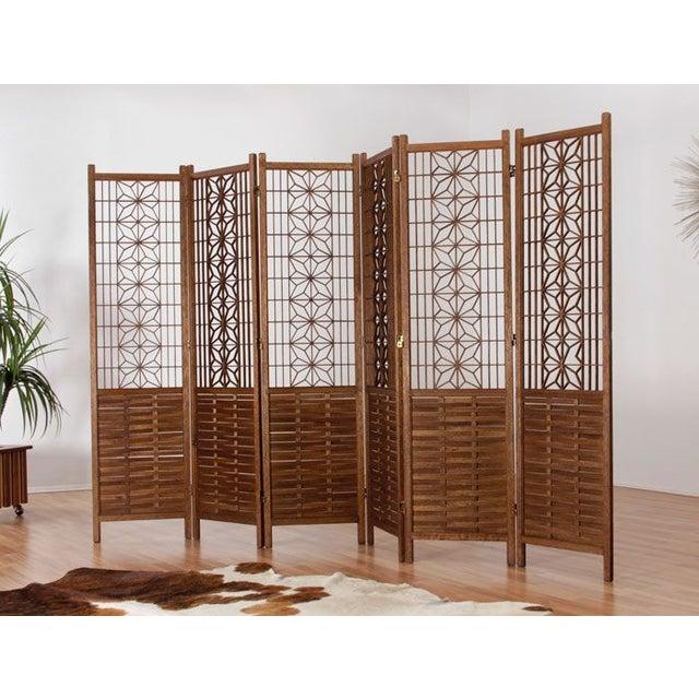 Image of Vintage Six Panel Teak Room Divider Screen