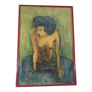 Drawing of a Nude Woman With Blue Hair