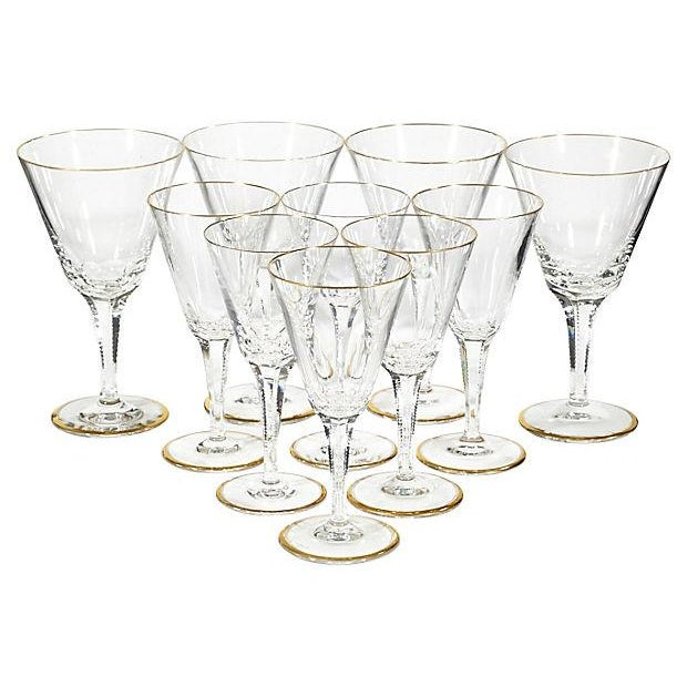1950s Gilt-Rimmed Glass Stems - Set of 8 - Image 2 of 4
