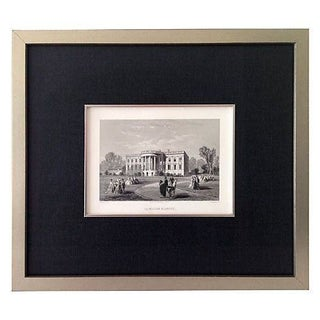Antique French Steel Engraving of The White House