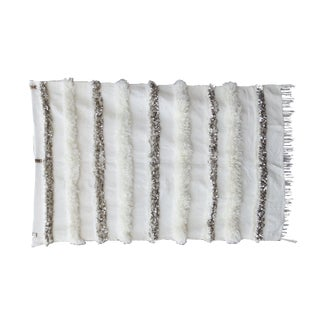 Blanc' Sequins & Fringe Moroccan Wedding Blanket