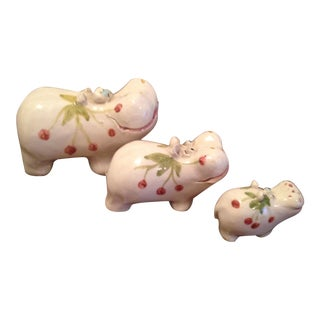 Ceramic Hand Painted Hippo Family - Set of 3