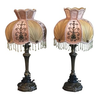 Victorian Style Lamps With Shades - A Pair