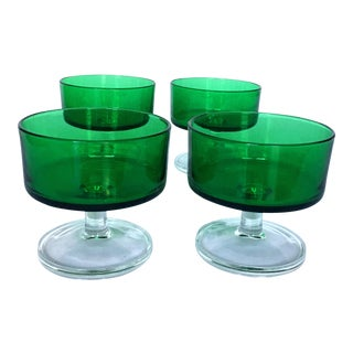 Vintage Emerald French Cocktail Glasses - set of 4