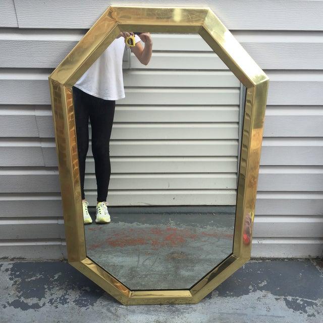 Large Vintage 1970s Modernist Mastercraft Solid Brass Octagon Mirror - Image 3 of 11