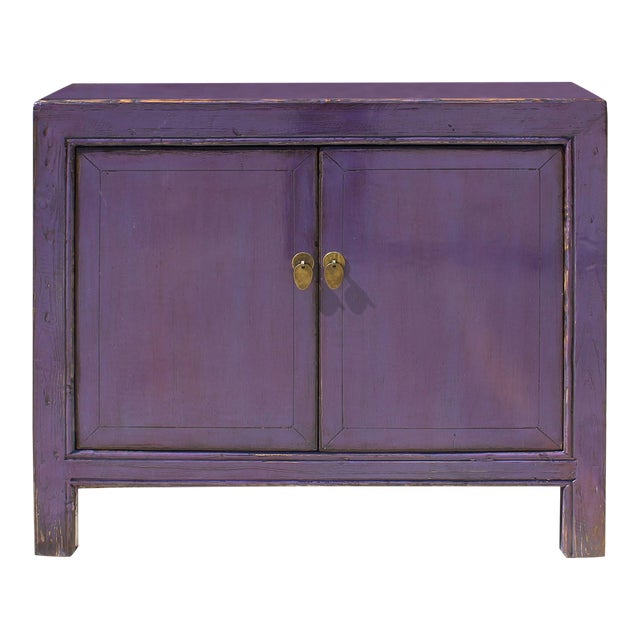 Oriental Credenza: Oriental Simple Purple Credenza Sideboard Buffet Table