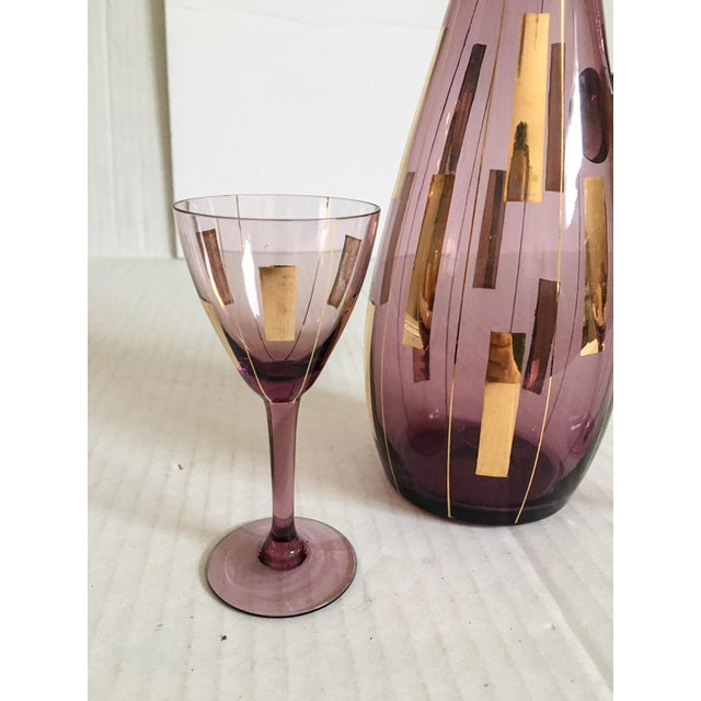 Amethyst & Gold Mid-Century Modern Cordial Set for Two - Image 3 of 7