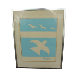 Birds on Blue Field Silkscreen by Georges Braque