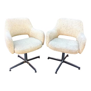 Mid-Century Cream Tweed Swivel Chairs - A Pair