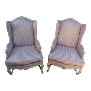 Wood Framed Wing Chairs - A Pair