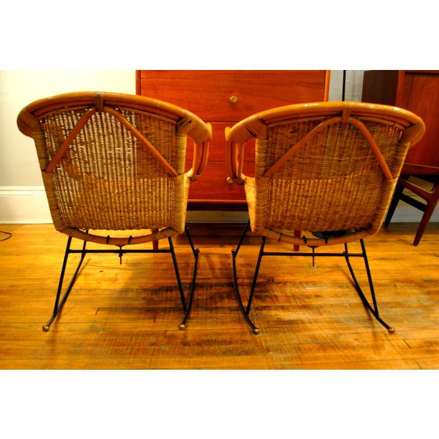 Midcentury Rattan and Wicker Rockers- A Pair - Image 5 of 11