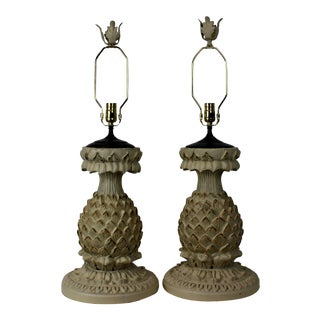 Hand-Carved Wood Lamp - A Pair