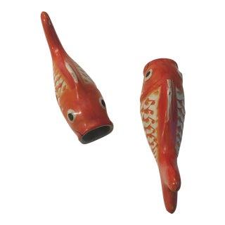 Antique Porcelain Koi Wall Pockets - a Pair