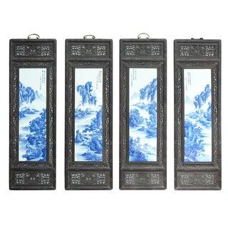 Chinese Blue & White Porcelain Panels - Set of 4