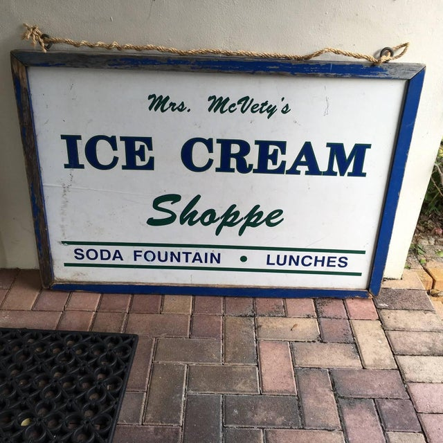 Image of Antique Hand Painted Ice Cream Shoppe Sign