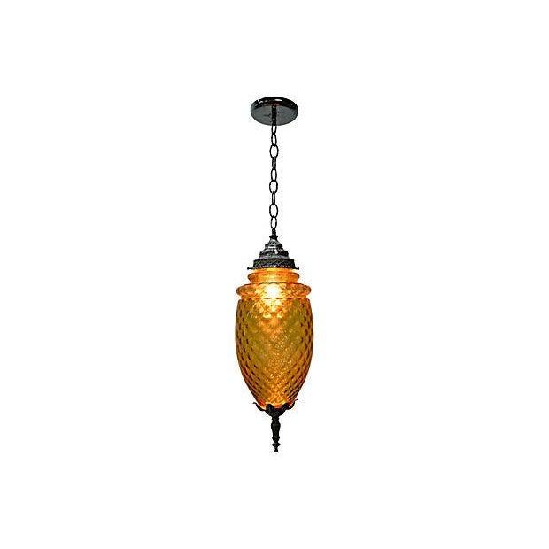 Image of Amber Glass Pendant Lamp