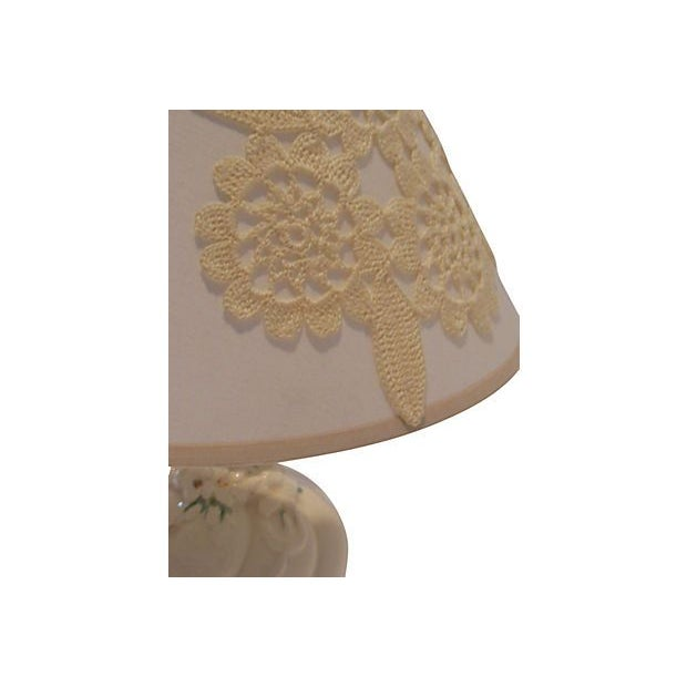 Cream Ceramic Lamp with Custom Shade - Image 4 of 4