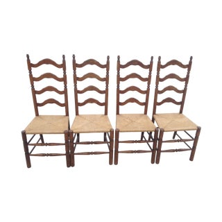 Vintage Tall Ladder Dining Chairs - Set of 4