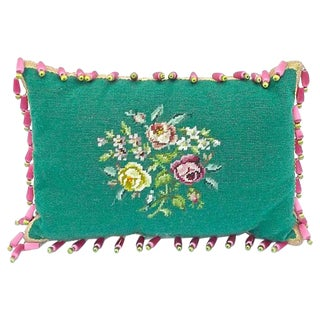 Vintage English Roses Green Needlepoint Pillow