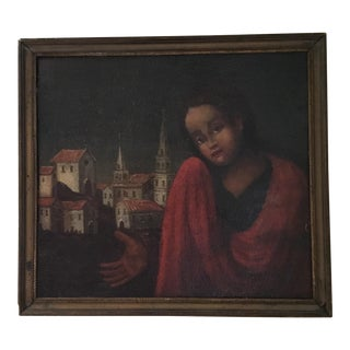 Crying Young Girl Painting