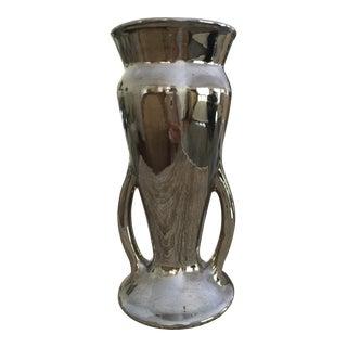 Vintage Platinum Metallic Glazed Ceramic Vase