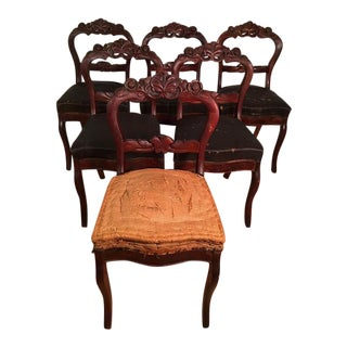 Victorian Mahogany Dining Room Chairs - Set of 6