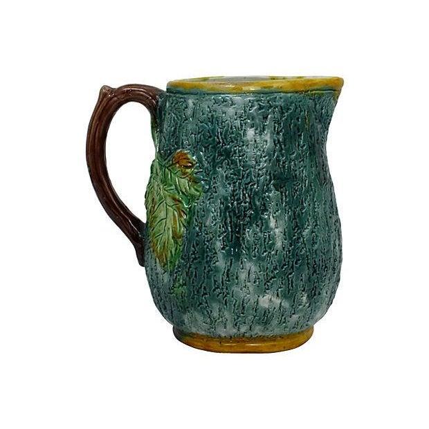 Image of Antique Majolica Green Leaf & Blue Pitcher