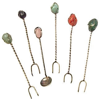 Gemstone Appetizer Forks & Spoon - Set of 6