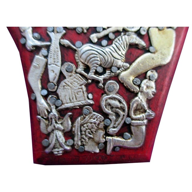 Mexican Folk Art Red Wooden Hand - Image 3 of 4