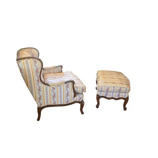 1940s Upholstered Chair & Ottoman Set